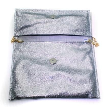 Sparkling Bling Glitter Gray Clutch..