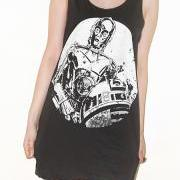 R2-D2 C-3PO Robot Star Wars Charcoal Black Tank Top Singlet Vest Tunic Sleeveless Women Shirt Top Indie Movie Punk Rock T-Shirt Size M