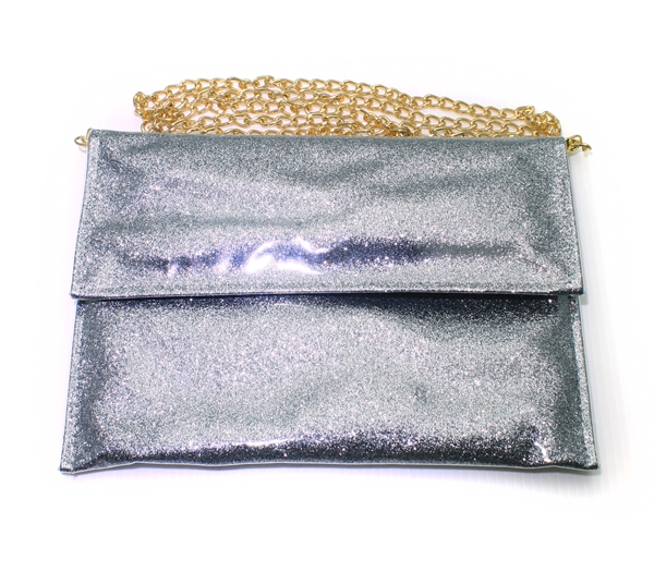 Sparkling Bling Glitter Gray Clutch Evening Party Purse Shoulder Bag Chain Bag