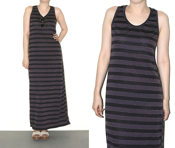 Maxi Dress Purple Black Gold Stripe Tank Top Women Shirt Size S On