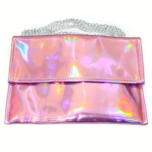 Pink Rainbow Hologram Gammaray Holographic Purse Shoulder Bag Chain Bag