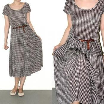 Midi Dress Day Houndstooth Gray Black Glitter Silver Short Sleeve Party Jump Waist Women Shirt Size S